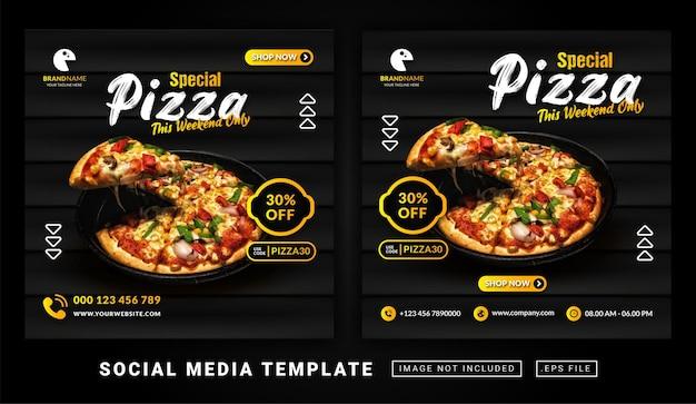 Volantino o modello di menu di cibo pizza a tema post sui social media