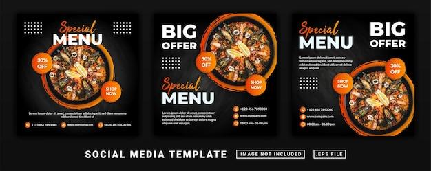 Modello di menu del ristorante a tema per volantini o post sui social media