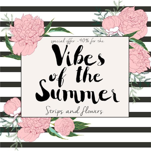 Volantino di saldi estivi. vibrazioni estive e fiori. banner disegnato a mano. inciso