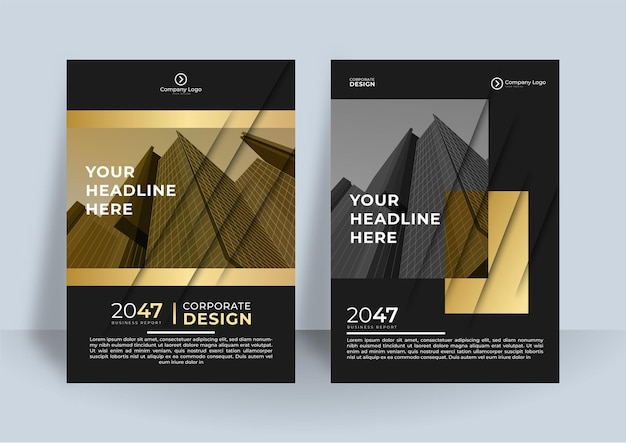 Modello di volantino nero oro copertina layout di progettazione impostato per il business.
