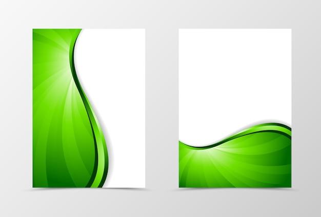 Volantino modello vortice design. modello astratto volantino con linea verde. design volantino luminoso spettro ondulato.