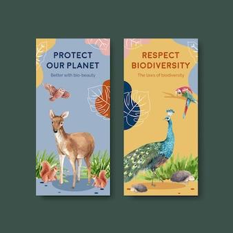 Modello di volantino con biodiversità come specie di fauna selvatica naturale o protezione della fauna
