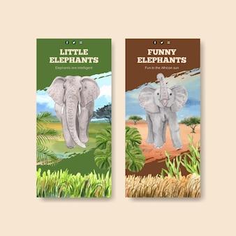 Modello di volantino con il concetto di elefante divertente, stile acquerello