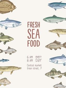Modello di volantino con pesce e frutti di mare freschi