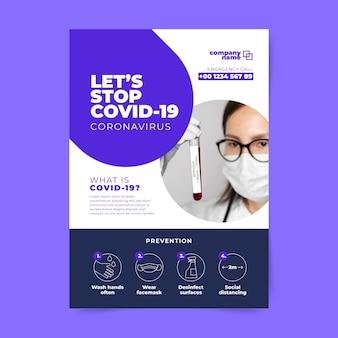 Modello di volantino con informazioni sul coronavirus