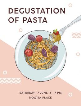 Modello di volantino con piatto di spaghetti appetitosi con pomodori. degustazione di pasta, delizioso pasto tradizionale italiano.