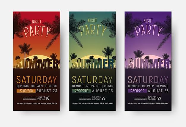 Modelli di volantini per una festa estiva. progettazione di banner verticali con una spiaggia notturna e palme al tramonto