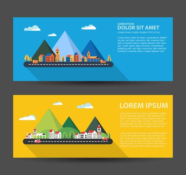 Flyer town per biglietti da visita aziendali e aziendali e inviti allo stile urbano