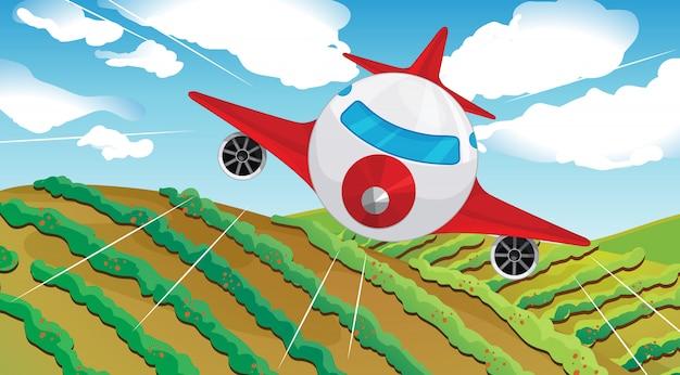 Un airplain volante e un bellissimo paesaggio