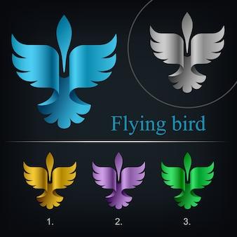 Modello di elemento di disegno di logo astratto uccello volante, linee aeree di concetto creativo logotipo