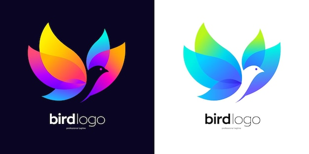 Logo dell'uccello volante con due opzioni di colore