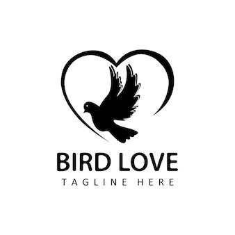 Uccello volante innamorato, vettore di progettazione del modello di logo della colomba in fondo isolato