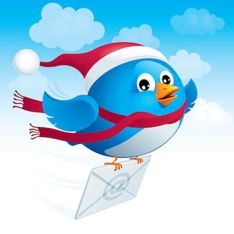Flying blue bird in the hat santa consegna il messaggio di posta elettronica