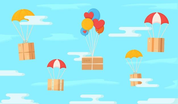 Scatole volanti nel cielo illustrazione della spedizione in uno stile insolito