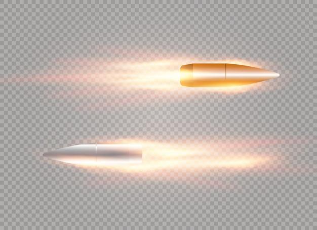 Un proiettile volante con una traccia infuocata. isolato su uno sfondo trasparente