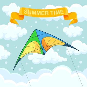 Aquilone colorato volante nel cielo con nuvole isolate su priorità bassa