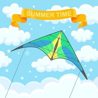 Aquilone colorato volante nel cielo con nuvole isolate su priorità bassa.