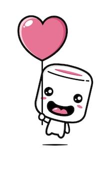 Simpatici marshmallow volanti con palloncino a forma di cuore