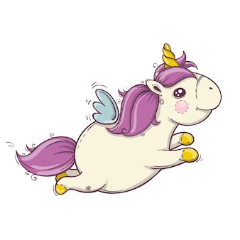 Unicorno carino volante con criniera e corno