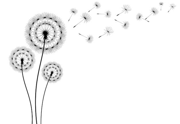 Icona di vettore di semi di dente di leone volante elemento decorativo isolato vettoriale da sagome sparse