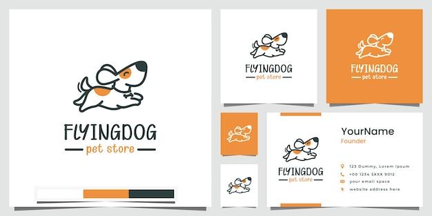 Cane volante negozio di animali logo design ispirazione