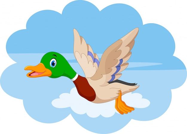 Cartone animato anatra volante