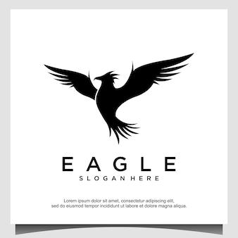 Modello di progettazione del logo dell'aquila in volo