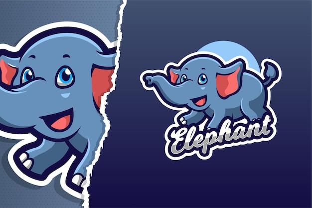Modello di logo del gioco mascotte elefante volante