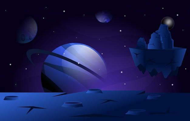 Illustrazione di esplorazione spaziale della stella del pianeta della roccia galleggiante volante