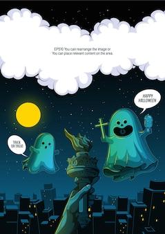 Spirito fantasma volante in città felice halloween fantasmi spaventosi design haracter simpatico cartone animato
