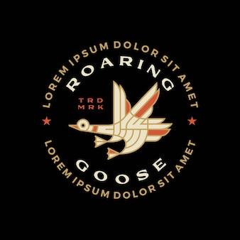 Illustrazione dell'icona di vettore del logo del distintivo della monolinea dell'oca volante