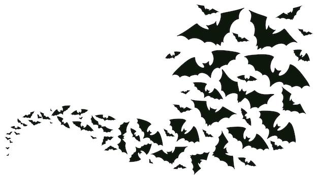 Sagome di pipistrelli volanti di halloween i pipistrelli si affollano in volo onda vampiro animali spettrali sfondo vettoriale