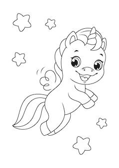 Pagina da colorare di unicorno felice volante