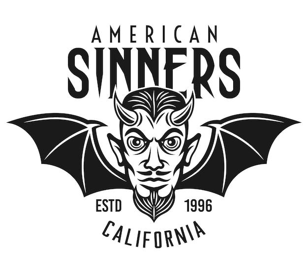 Testa di diavolo volante con emblema motociclista con ali di pipistrello