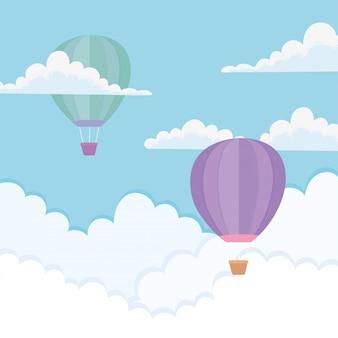 Volare mongolfiere tra le nuvole Vettore Premium