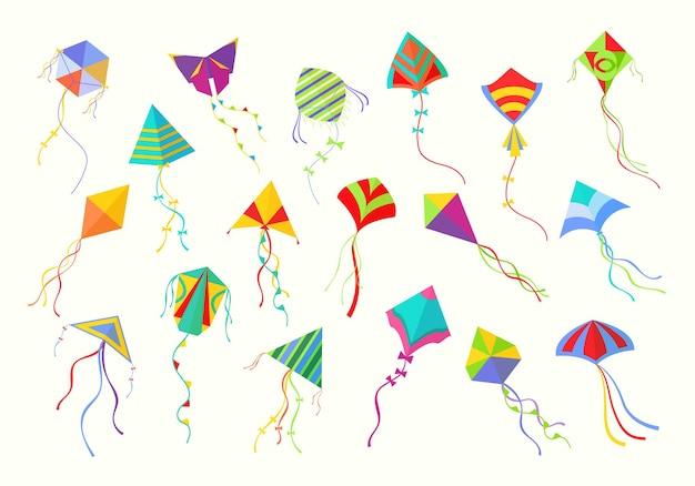 Set di aquiloni volanti. bellissimi infissi di forma geometrica per lanciarsi nelle gioie della carta del cielo