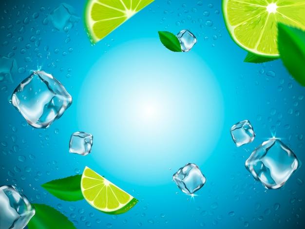 Limoni volanti, cubetti di ghiaccio ed elementi goccia d'acqua, sfondo di vetro azzurro, illustrazione