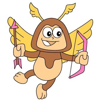 Adesivi del fumetto dell'angelo dell'amore volante che trasportano frecce romantiche, disegno di scarabocchi carini. illustrazione vettoriale