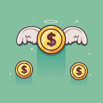 Soldi volanti monete con ali con le ali