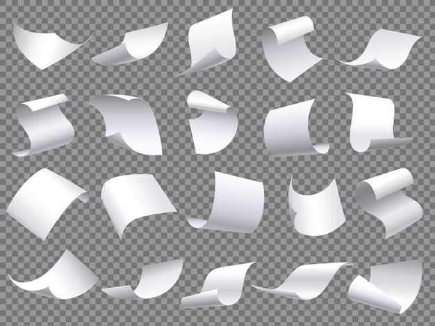 Pagine di carta volanti, fogli di documenti di carte che cadono, documenti con angolo curvo e insieme di oggetti isolati foglio di pagina volare