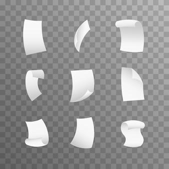 Fogli di carta volanti. isolato. carte volanti vuote in bianco bianche dettagliate dettagliate realistiche 3d.