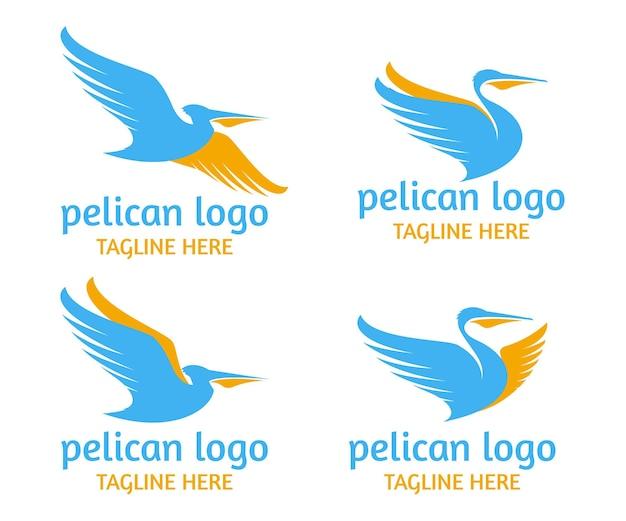 Collezione di logo di uccelli pellicani volanti
