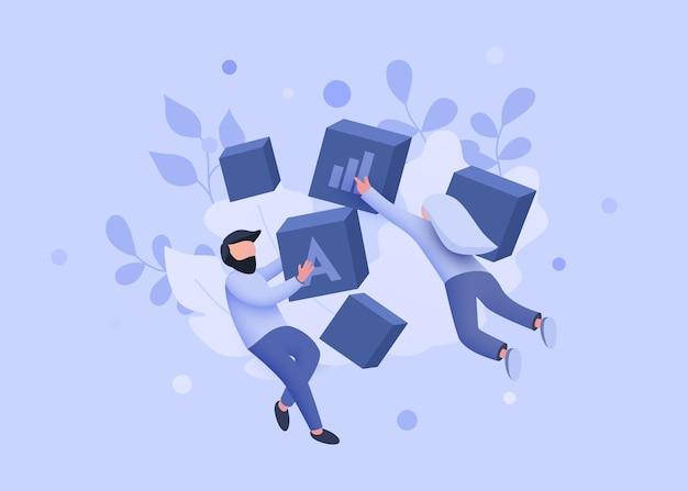 Persone volanti che smistano il concetto di audit aziendale dei cubi di dati