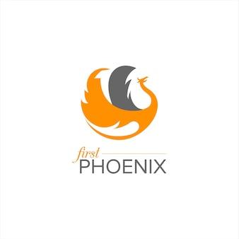 Vettore logo fenice volante semplice