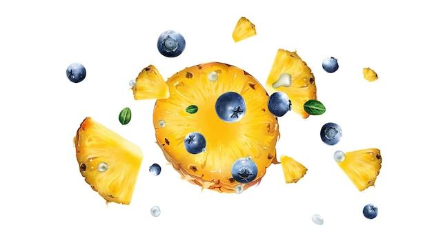 Pezzi volanti di ananas con bacche di mirtillo e foglie su sfondo bianco. illustrazione realistica.