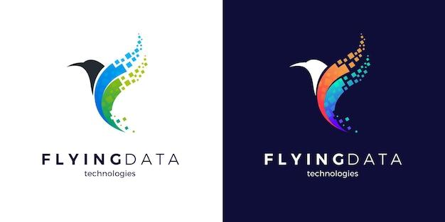 Design del logo dell'uccello pixel volante con due varianti di colore