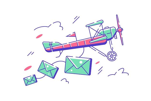 Volo aereo con illustrazione di lettere. l'aereo consegna la posta in aria in stile piatto. trasporto aereo e concetto di servizio postale.