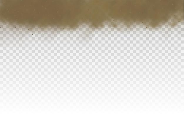 Nuvola di strada polverosa marrone sabbia volante o sabbia asciutta che vola con una raffica di vento tempesta di sabbia