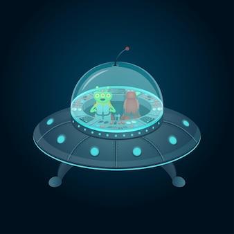 Disco volante con cabina di pilotaggio e alieno in stile cartone animato.