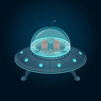 Disco volante con cabina di pilotaggio in stile cartone animato.